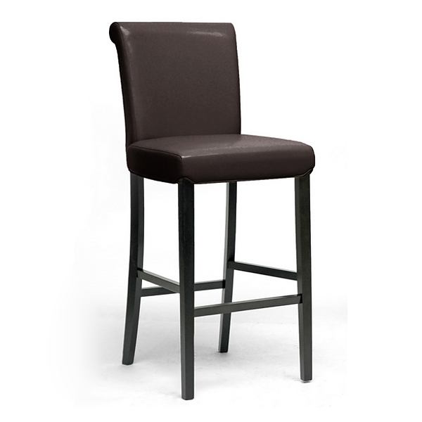 Bianca 30'' Modern Bar Stool - Scroll Back, Dark Brown