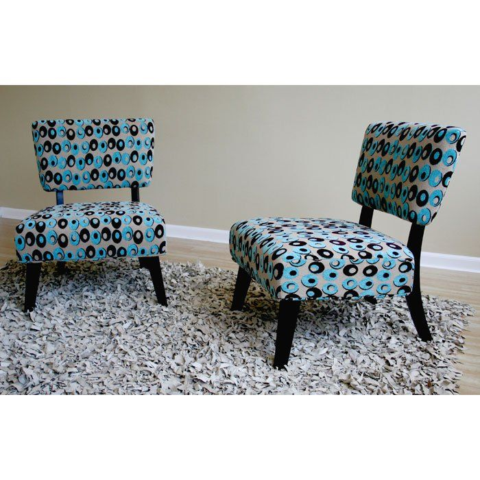 Gladys Turquoise and Brown Patterned Fabric Side Chair (Set of 2) - WI-Y-372-D-036