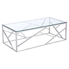 Cage Coffee Table - Glass Top, Stainless Steel