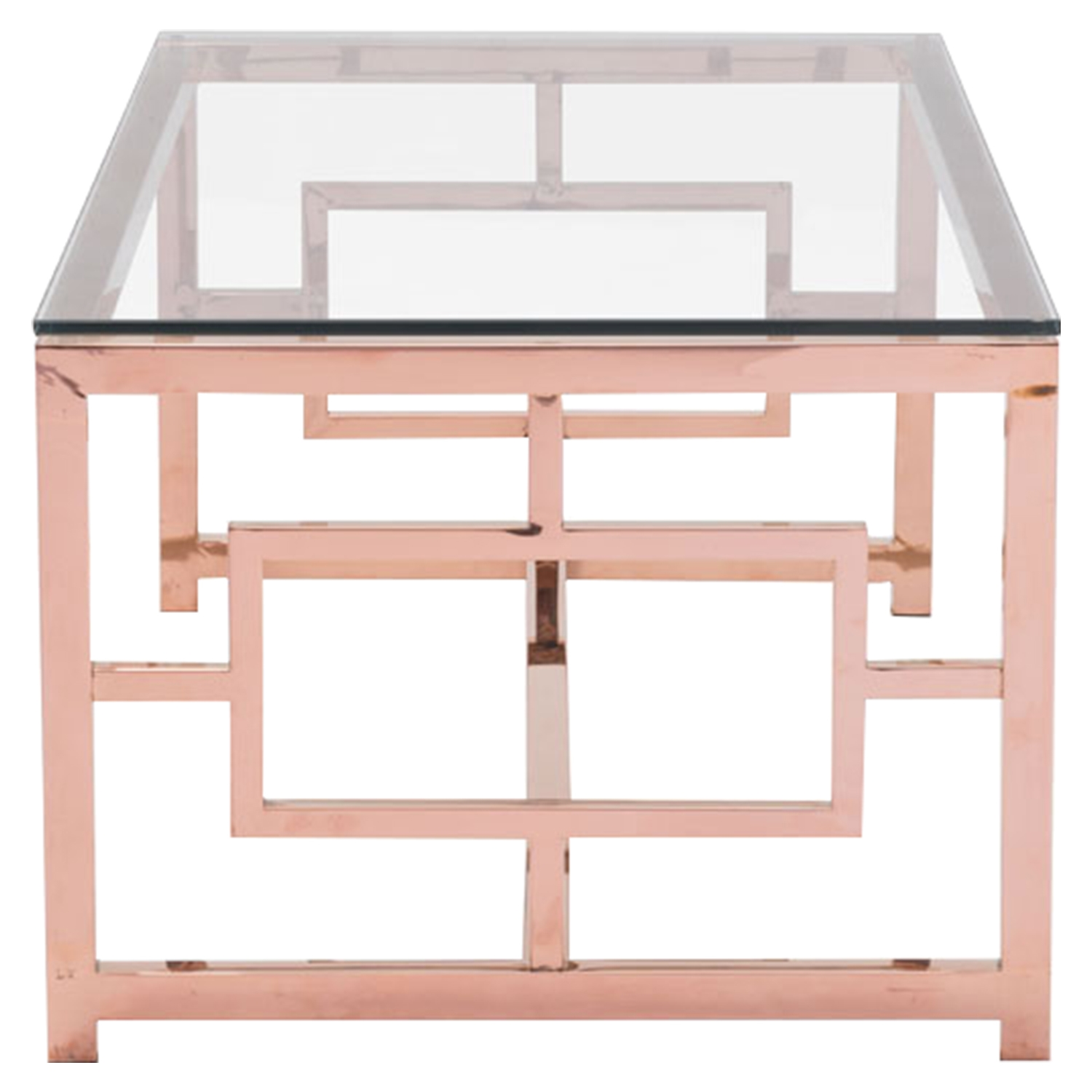Geranium Coffee Table - Glass Top, Rose Gold - ZM-100184