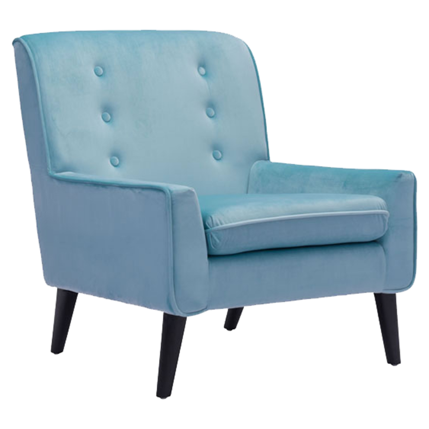Coney Tufted Arm Chair - Aqua Velvet