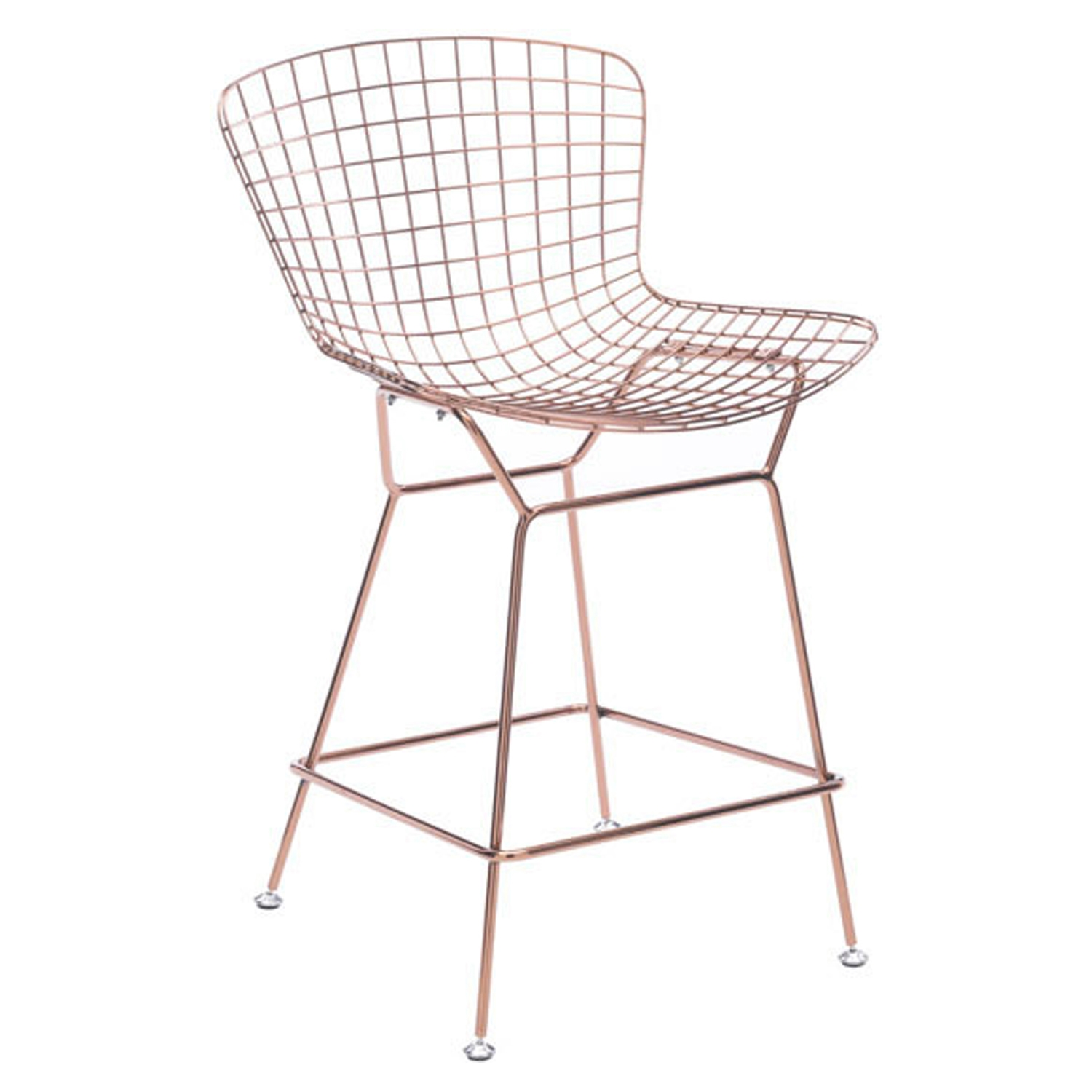 Wire Counter Chair - Backless, Rose Gold - ZM-100363