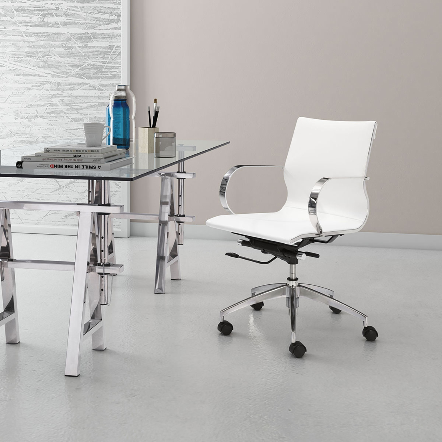 Glider Low Back Office Chair - White - ZM-100375
