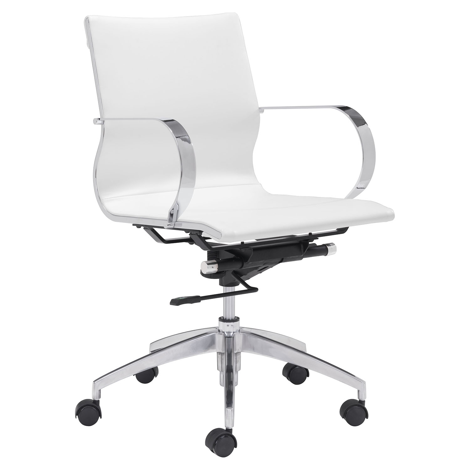 Glider Low Back Office Chair - White