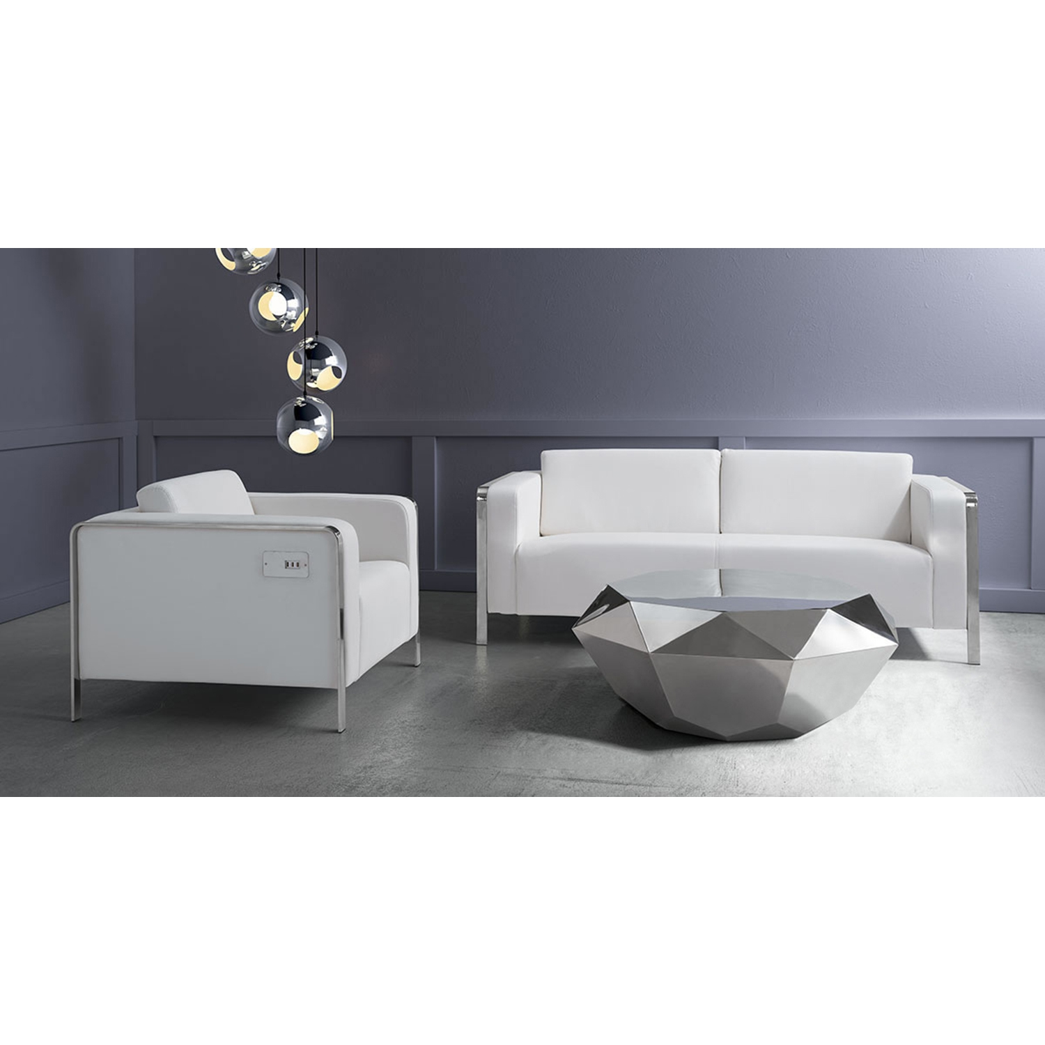 Thor Arm Chair - White - ZM-100384