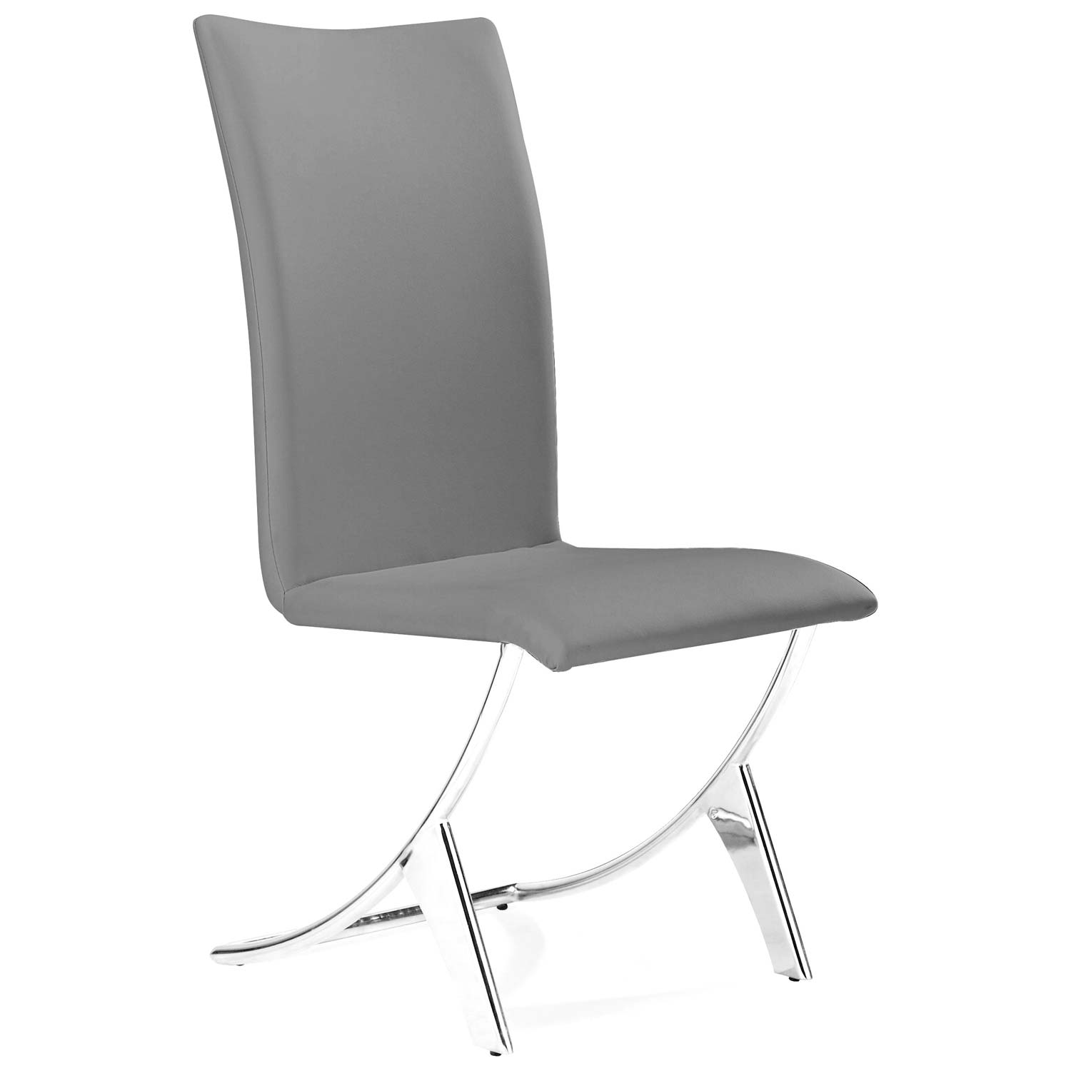 Delfin Dining Chair - Chrome Steel, Gray