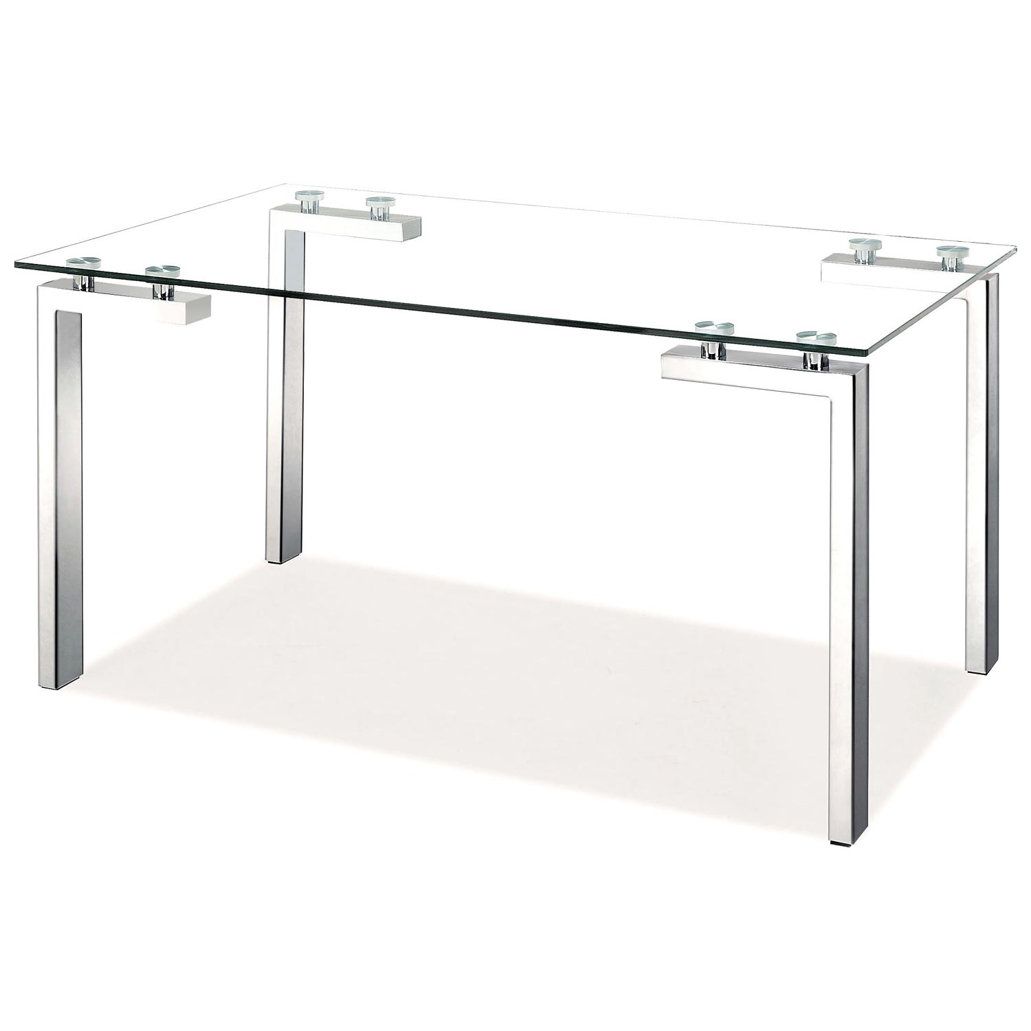 Roca Modern Dining Table - Tempered Glass, Stainless Steel