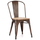 Elio Dining Chair - Steel, Faux Rust, Wood Seat
