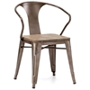 Helix Armchair - Steel, Wood Seat, Faux Rust