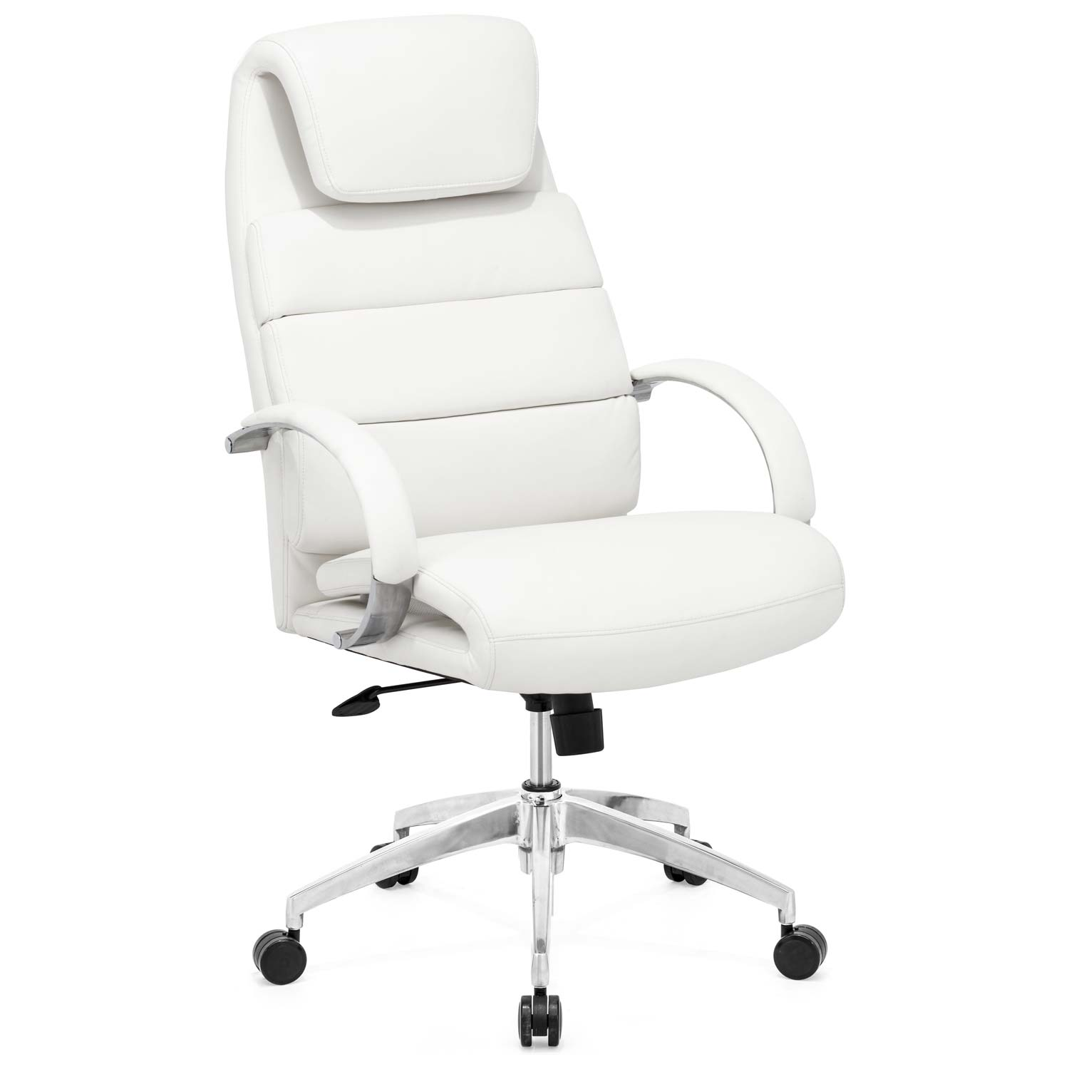 Lider Comfort Office Chair - Chrome Steel, White