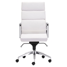 Engineer High Back Office Chair - Casters, White