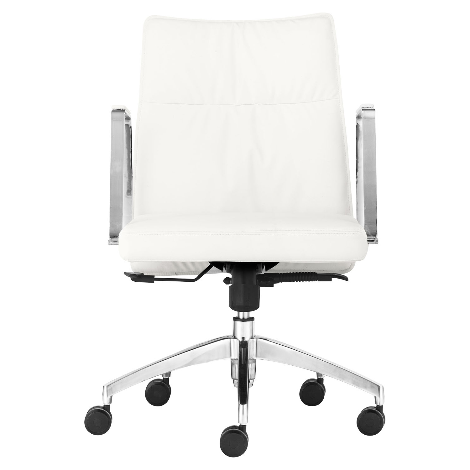 Dean Low Back Office Chair - Casters, White