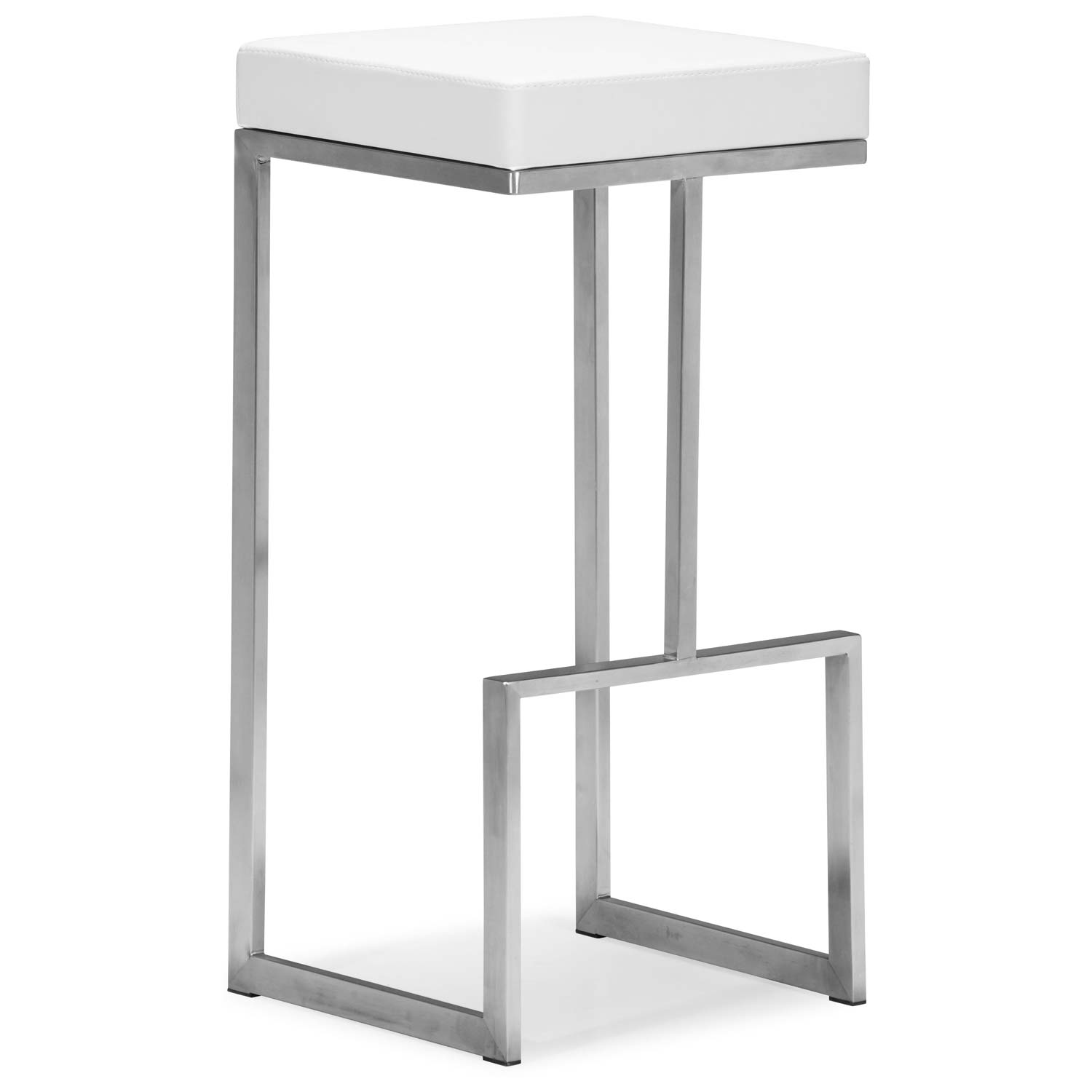 "Darwen 30"" Backless Bar Stool - Stainless Steel, White"