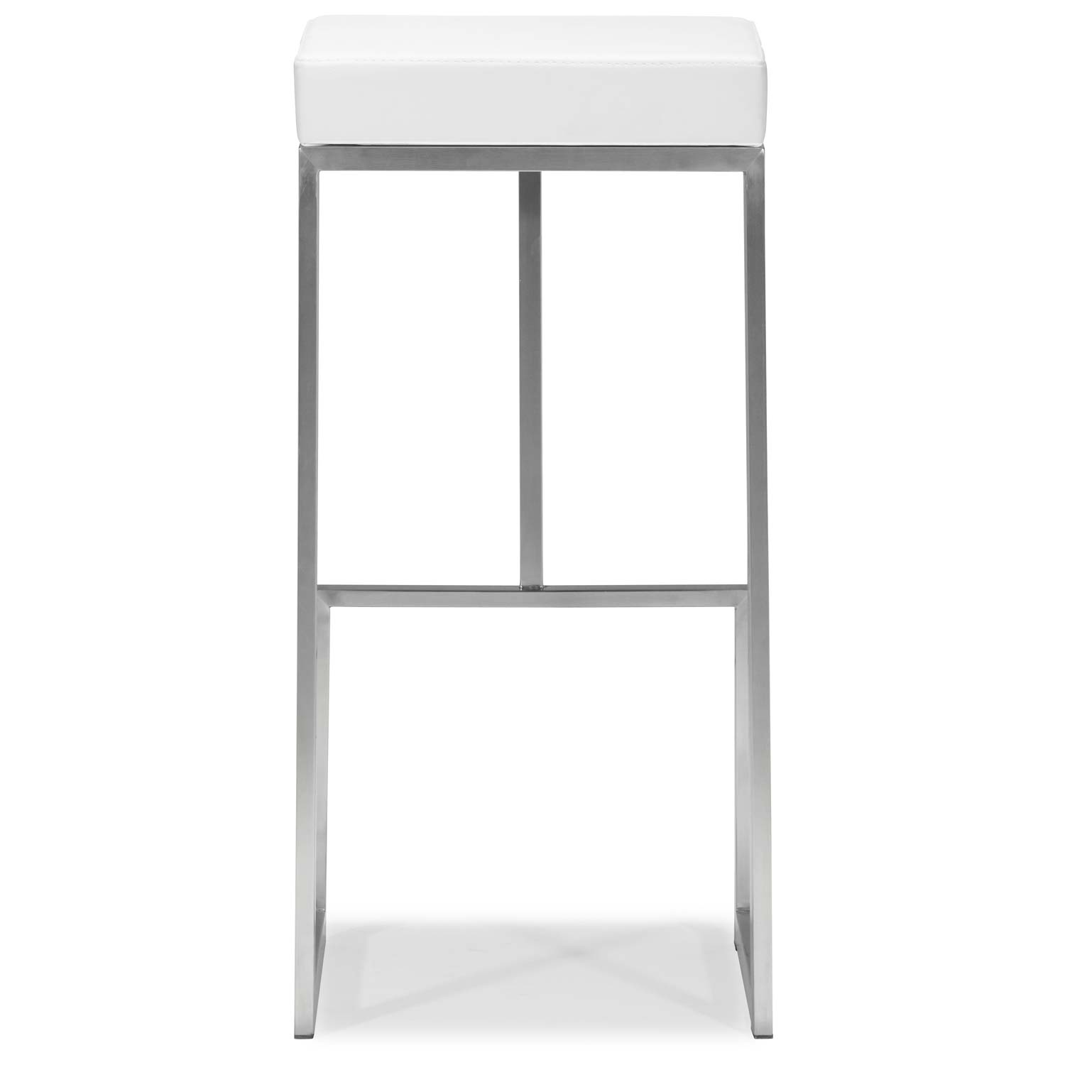 "Darwen 30"" Backless Bar Stool - Stainless Steel, White - ZM-300046"
