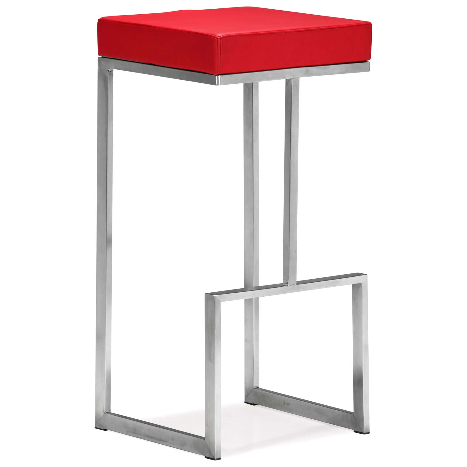 "Darwen 30"" Backless Bar Stool - Stainless Steel, Red"