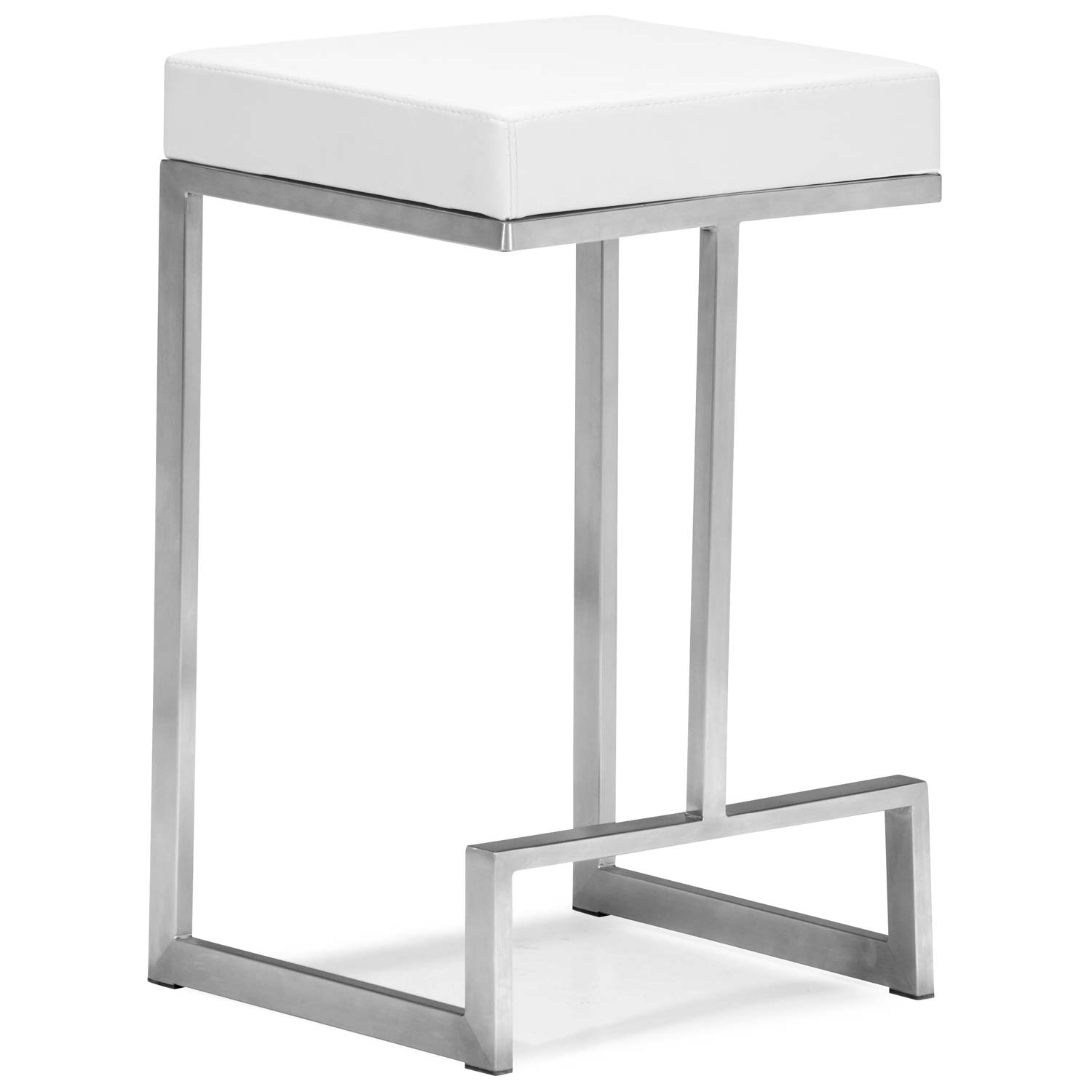 "Darwen 24"" Backless Counter Stool - Steel Base, White"