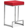 "Darwen 24"" Backless Counter Stool - Steel Base, Red"
