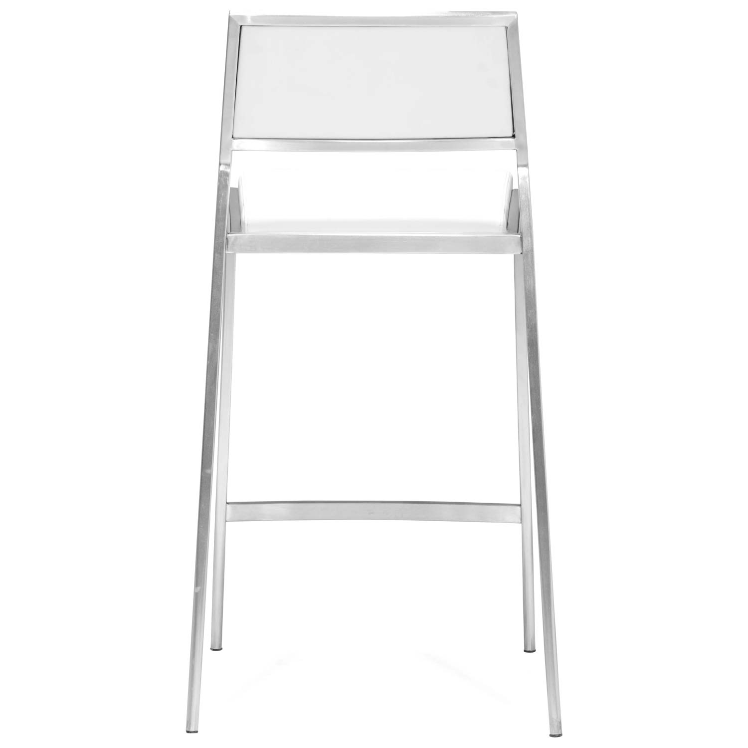 "Dolemite 26"" Counter Stool - Stainless Steel, White - ZM-300189"
