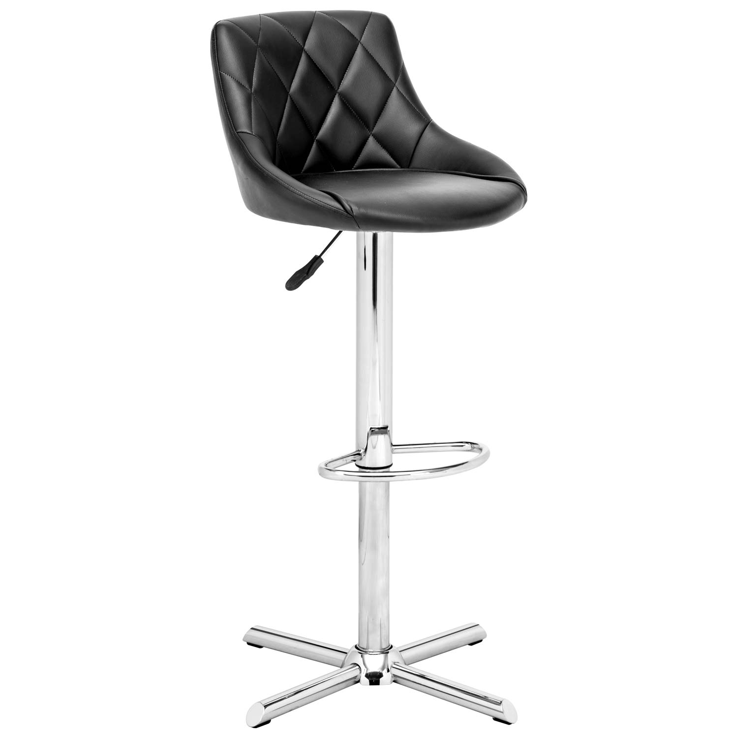 Devilin Diamond Tufted Bar Stool - Chrome Steel, Black