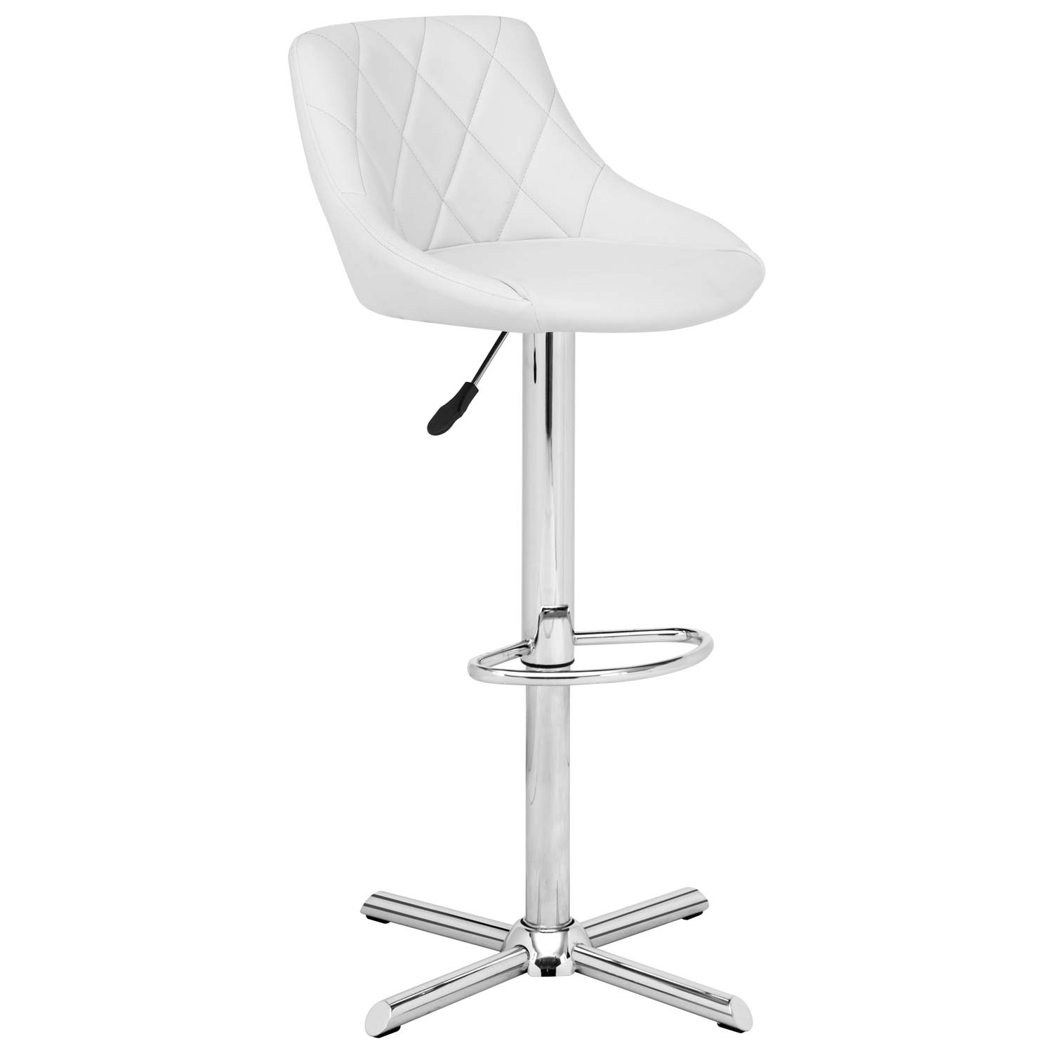 Devilin Diamond Tufted Bar Stool - Chrome Steel, White