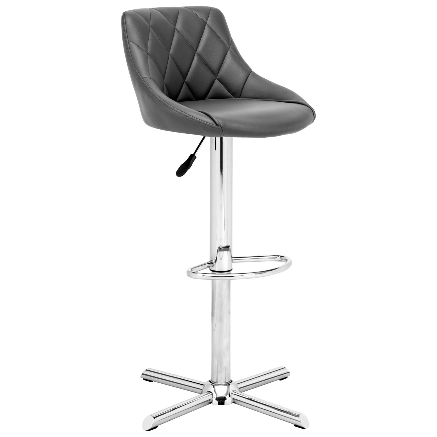 Devilin Diamond Tufted Bar Stool - Chrome Steel, Gray