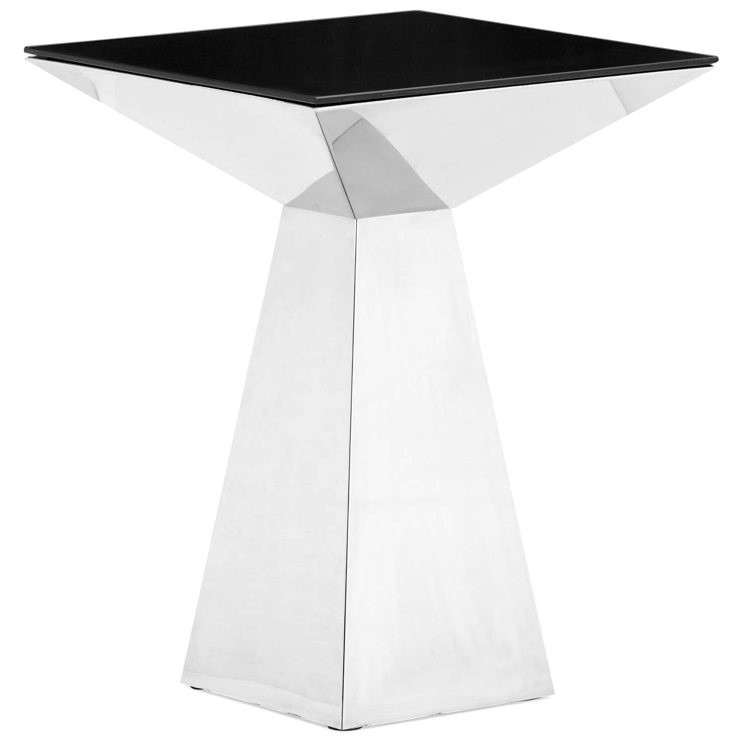 Tyrell Tall End Table - Painted Tempered Glass, Stainless Steel