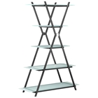 Xert Narrow 5-Shelf Bookcase - Frosted Glass, Steel, Gray
