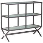 Xert Buffet / Console Table - Frosted Glass, Steel Frame, Gray