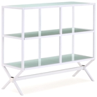 Xert Buffet / Console Table - Frosted Glass, Steel Frame, White