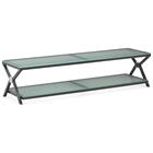 Xert Modern TV Stand - Frosted Glass, Steel Frame, Gray