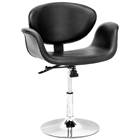 Barber Swivel Dining Chair - Chrome Steel, Black