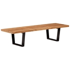 Heywood Nelson-Inspired Triple Bench - Natural Seat, Black Base