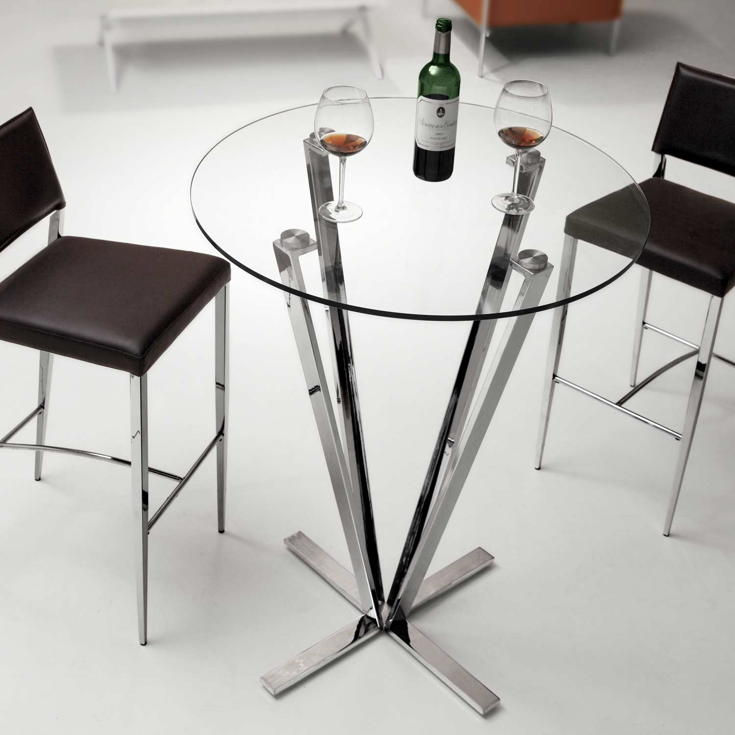 Mimosa Round Bar Table - Tempered Glass, Stainless Steel - ZM-601105