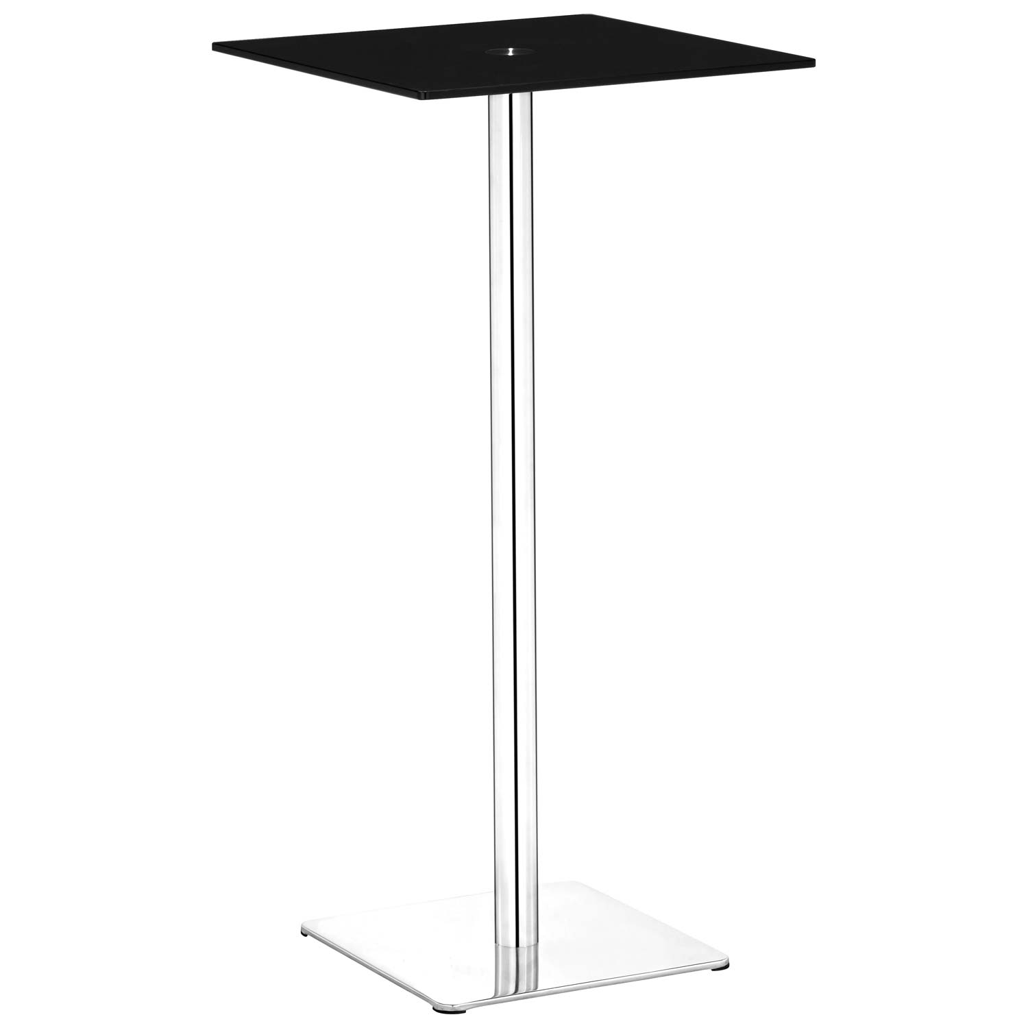 Dimensional Square Bar Table - Chrome Base, Black Glass - ZM-601167
