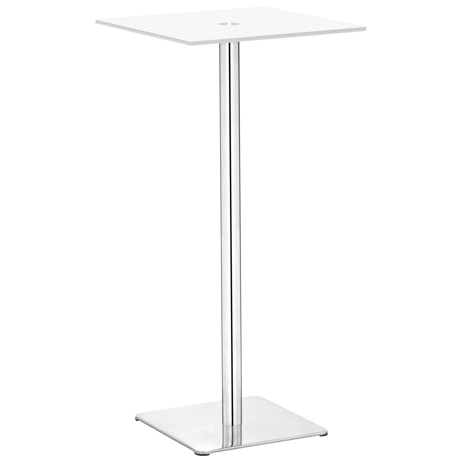 Dimensional Square Bar Table - Chrome Base, White Glass