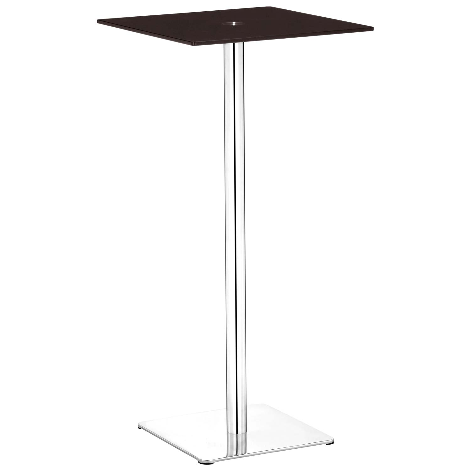 Dimensional Square Bar Table - Chrome Base, Espresso Glass