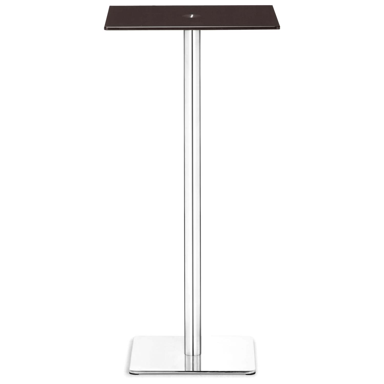 Dimensional Square Bar Table - Chrome Base, Espresso Glass - ZM-601169