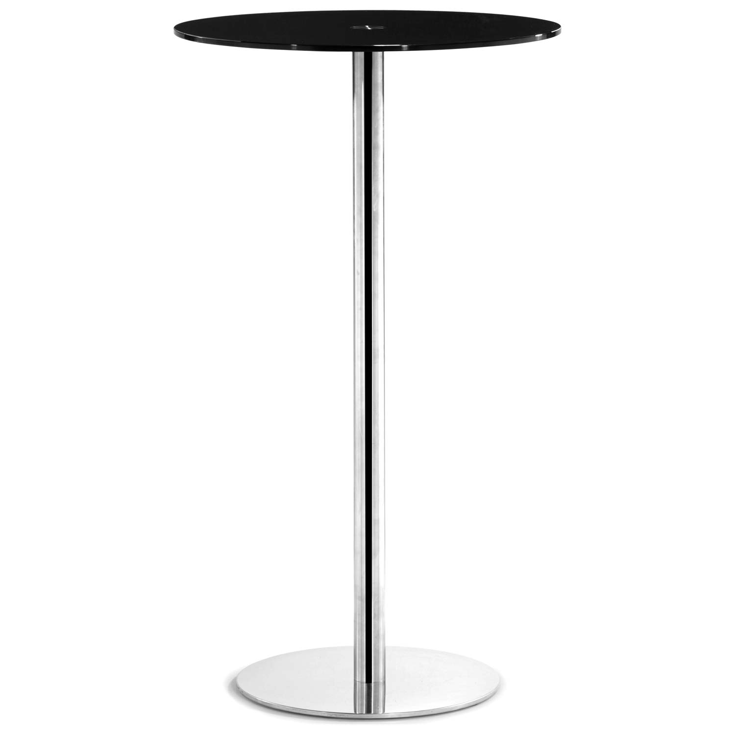 Cyclone Round Bar Table - Chrome Base, Black Glass - ZM-601170