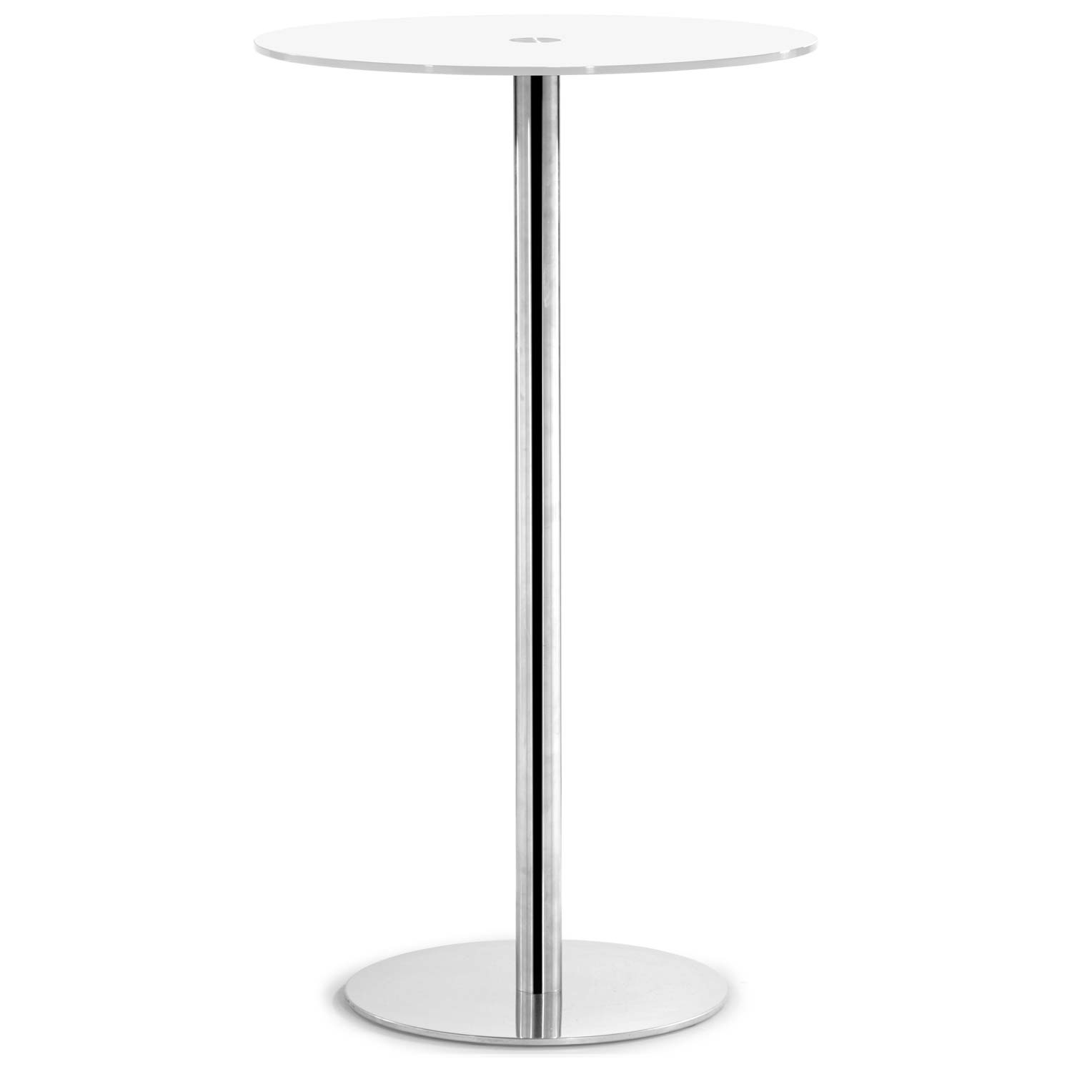 Cyclone Round Bar Table - Chrome Base, White Glass