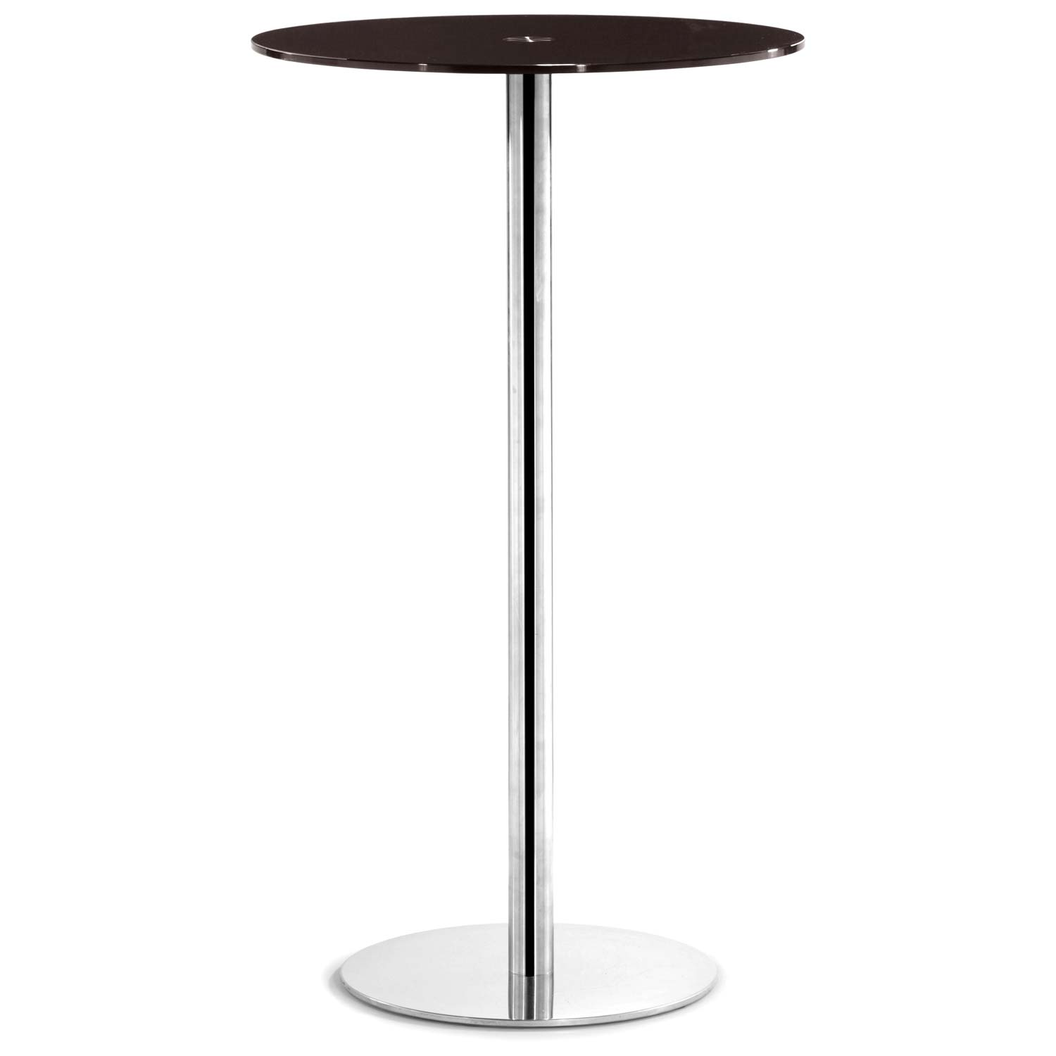 Cyclone Round Bar Table - Chrome Base, Espresso Glass