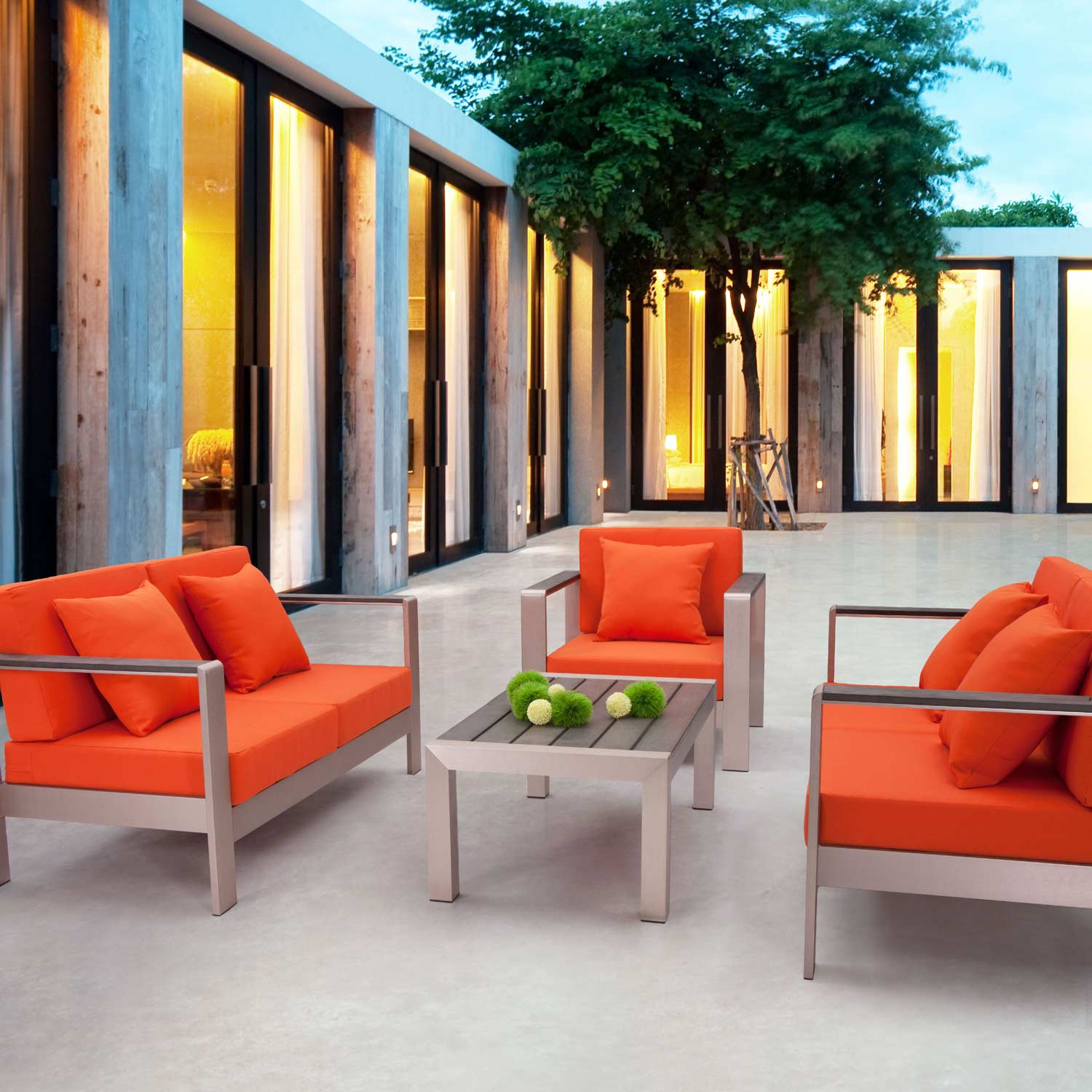 Cosmopolitan Patio Sofa - Brushed Aluminum, Teak, Orange - ZM-701850-703652