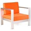 Cosmopolitan Patio Armchair - Brushed Aluminum, Teak, Orange