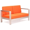Cosmopolitan Patio Sofa - Brushed Aluminum, Teak, Orange