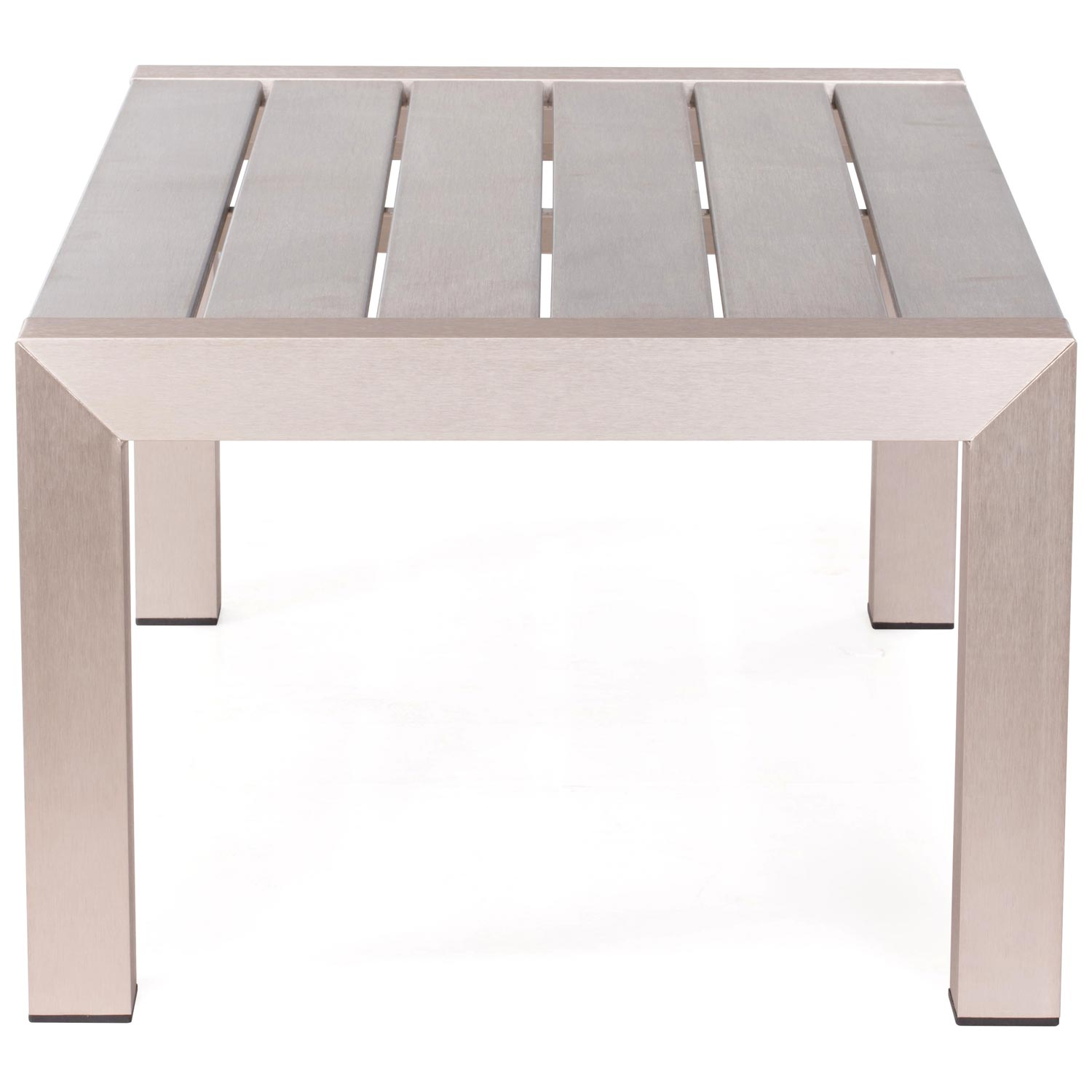 Cosmopolitan Patio Coffee Table - Brushed Aluminum, Teak - ZM-701860
