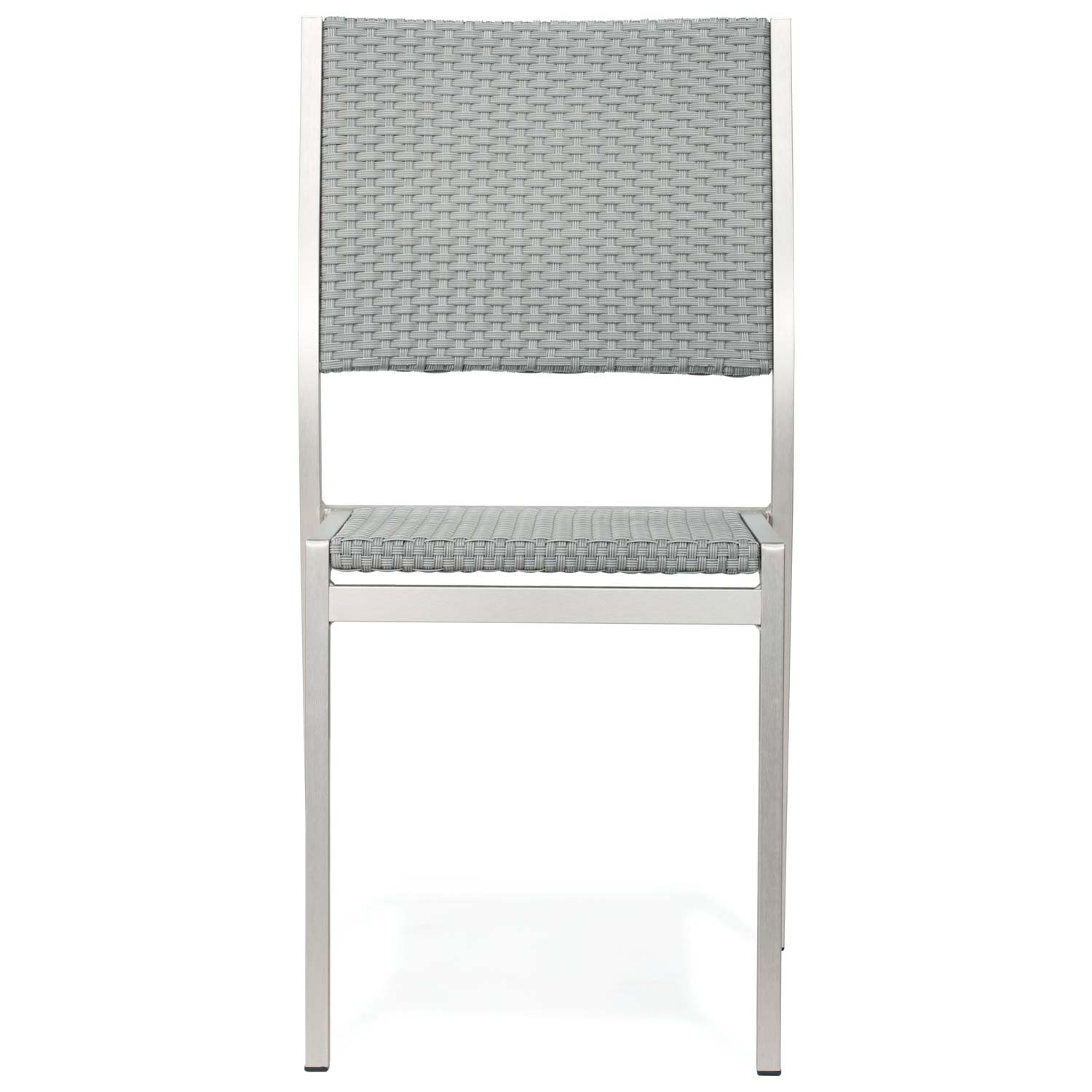 Metropolitan Outdoor Woven Side Chair - Brushed Aluminum - ZM-701866