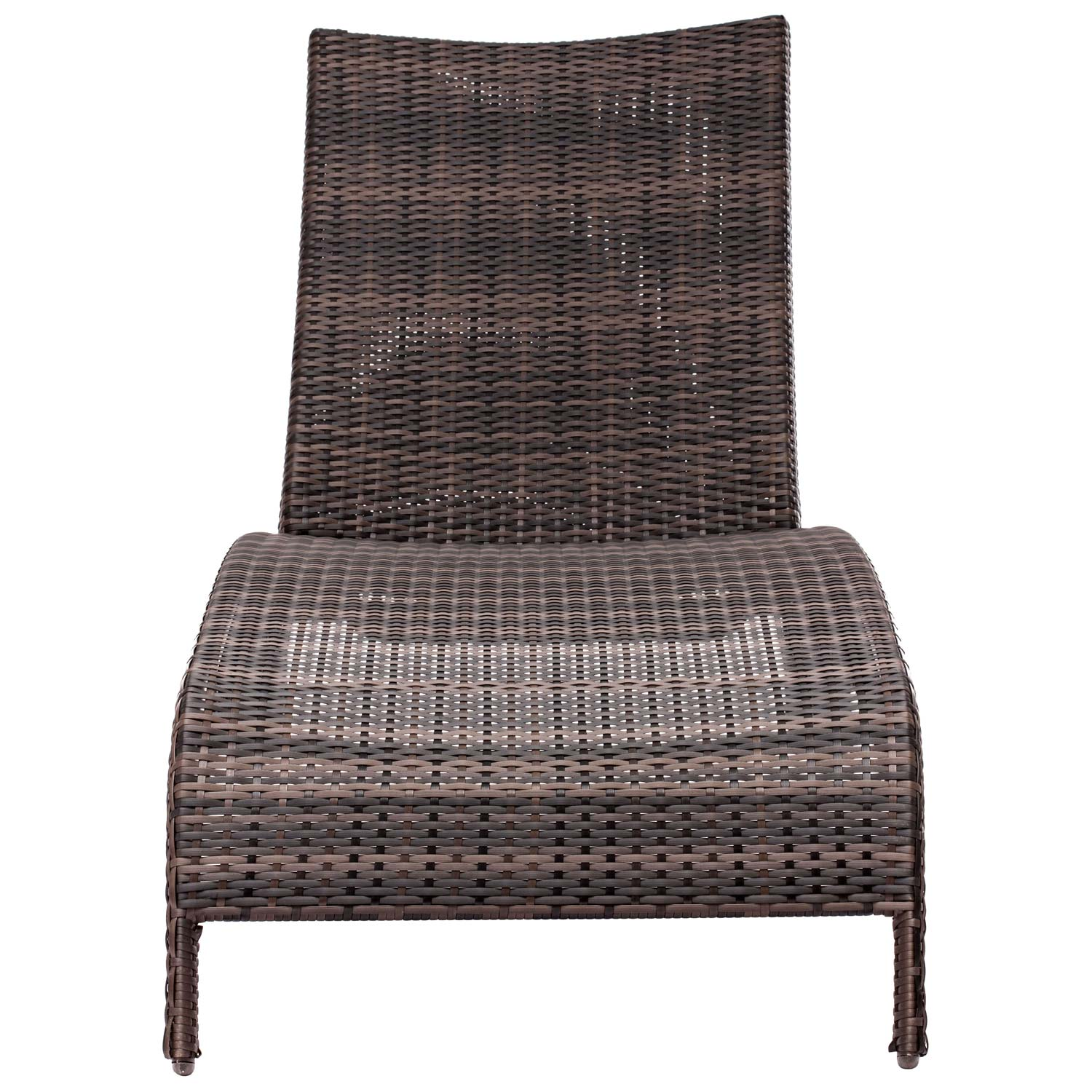 Lido Outdoor Chaise Lounge - Wicker, Wheels, Brown - ZM-703079