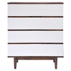 LA High Chest - Walnut and White