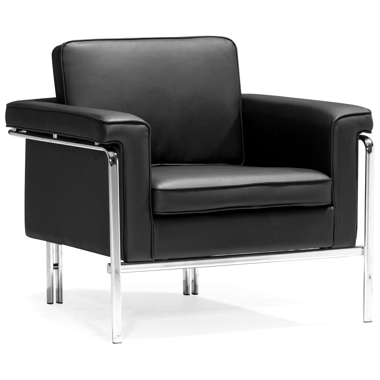 Singular Modern Armchair - Chrome Steel, Black