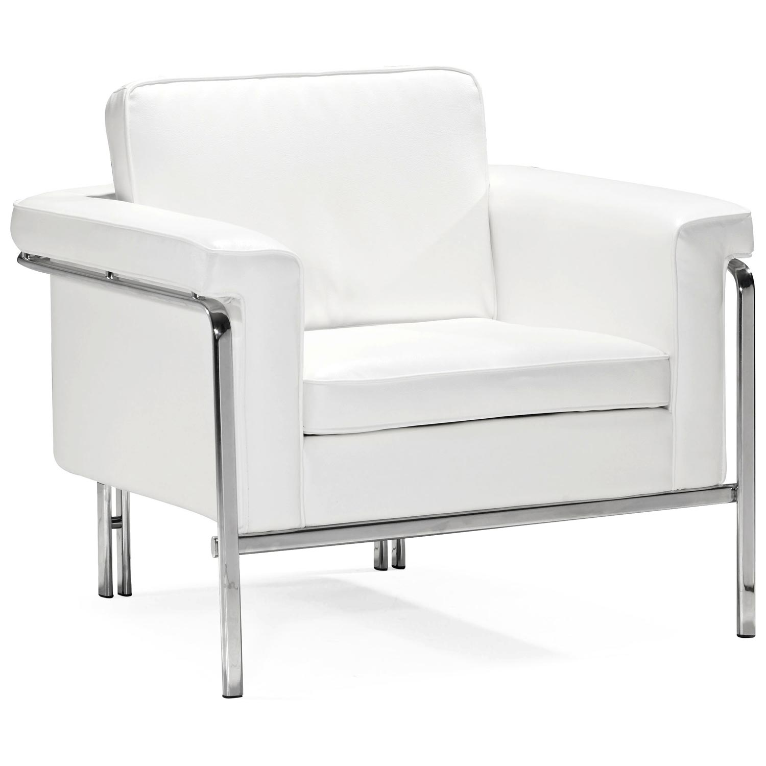 Singular Modern Armchair - Chrome Steel, White