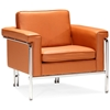 Singular Modern Armchair - Chrome Steel, Terracotta